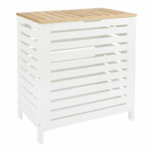 Details About Large Laundry Bin Basket White Wood Rectangle Hamper Bathroom Bedroom Lid Uk Dis