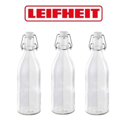 Clip Top Bottles for Kombucha /& Sloe Gin 3 x 0.5L Round Leifheit Swing Top