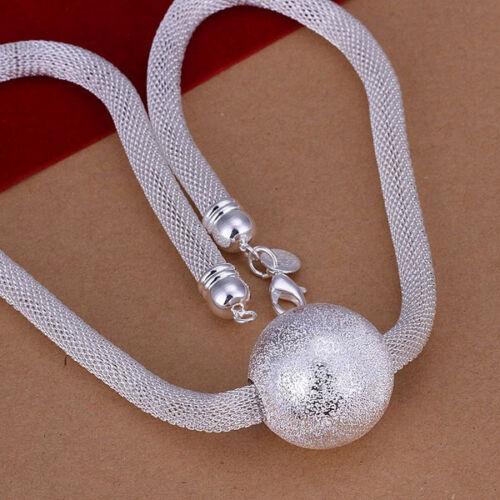 Livraison gratuite sterling solid silver Chic Boule Maille Chaîne Collier N182