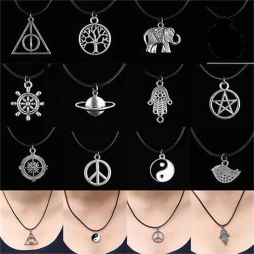 Tibetan Silver Choker Charm Pendant Necklace Retro Hippy Black With Leather Cord