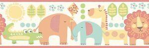 Smita-Papier-peint-Bordure-Carousel-DLB50074-Animaux-Lion-ELephant-Giraffe