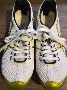 Details about ASICS Mens Turbo Ghost Field Track Spikes White GoldYellow Size US 6.5