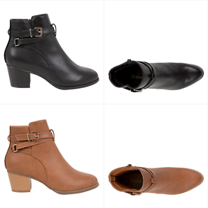 NEW-Spendless-Womens-Lisbon-Obsessed-Heeled-Metallic-Buckle-Zip-Up-Ankle-Boots