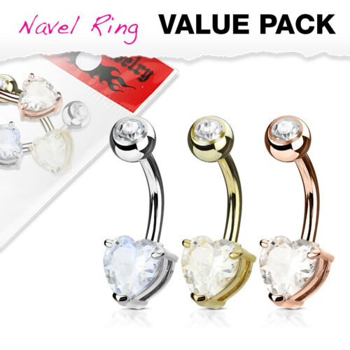 3pc Value Pack Heart Prong Set CZ Gem Gold Plated Steel Belly Rings Navel Naval