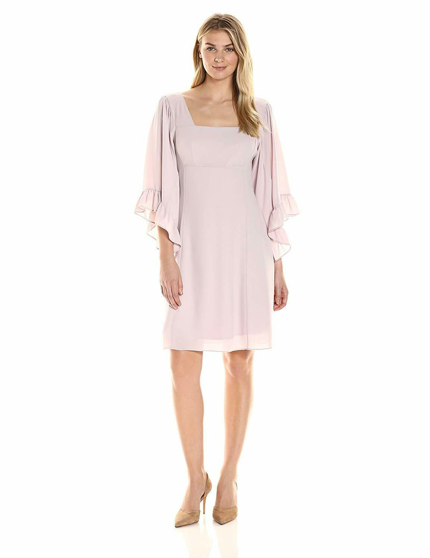 James & Erin Woherren Caftan-Sleeve Square-Neck Dress-Blaush- L