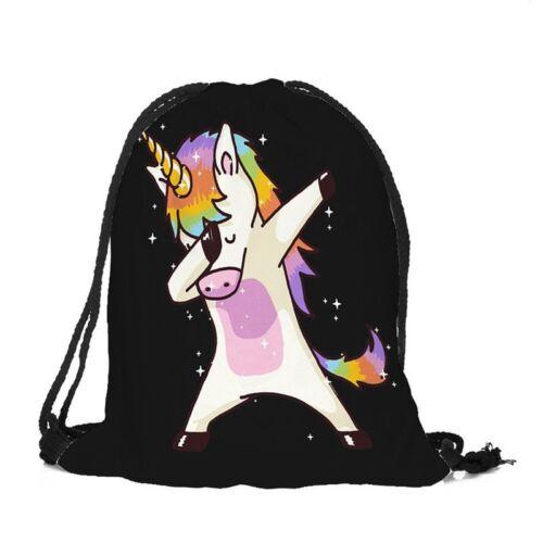 Childrens Unicorn Girls Back To School Kids Drawstring Bag PE Gym Shoe Backpack