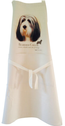 Bearded Collie Dog Natural Cotton Apron Double Pockets UK Made Baker Cook Gift
