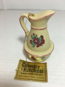 Jasco-Country-Kitchen-Bisque-Porcelain-Pitcher-Bell-Vintage
