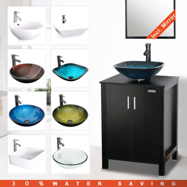 24 Bathroom Vanity Set W Vessel Sink Faucet Drain Mirror Cabinet Combo Black Ebay