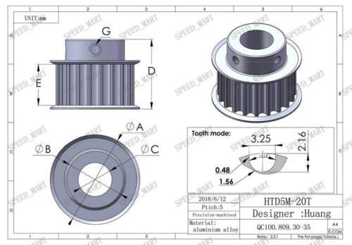 5M HTD5M Aluminum Timing Belt Pulley 20 Teeth 10mm Bore 16mm width Stepper Motor