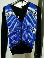 Versace Cardigan Nero Fantasia Black Royal Blue White 100% Silk