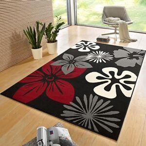 designer velours teppich flora schwarz rot 102403 ebay. Black Bedroom Furniture Sets. Home Design Ideas