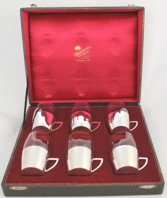 6 Teeglashalter mit Glaseinsatz in 800er Silber