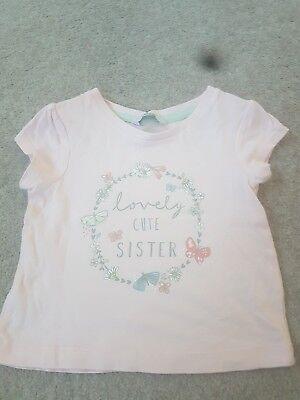 Ambizioso Girls Rosa T-shirt/top Età 12-18 Mesi Ottime Condizioni George Sorella Top-