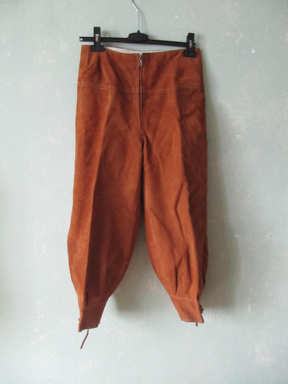 Hose Lederhose Trachten Kniebundhose ocker braun Cognacfarben Vintage 36 S 38 M