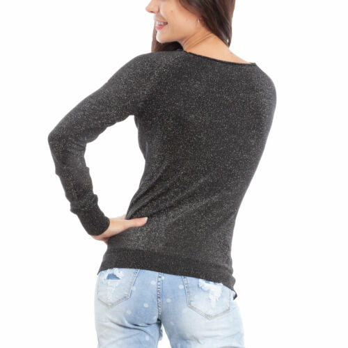 Maglione donna pullover lurex glitter barchetta manica lunga TOOCOOL GG-1812