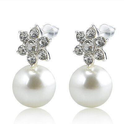Fashion Women Snowflake Crystal Rhinestone Pearl Ear Stud Earrings Jewelry Gift