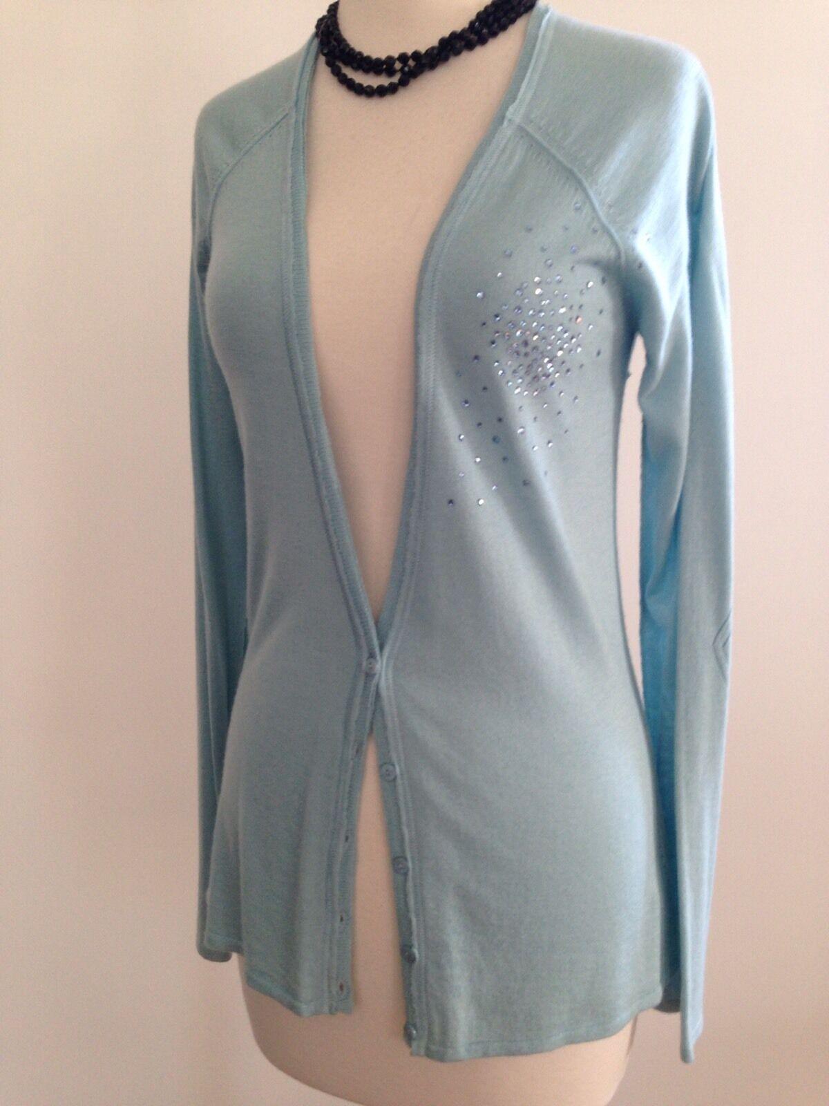 JOIE NWT  Cashmere Sky Light bluee Cardigan with Swarovski Crystal Burst M