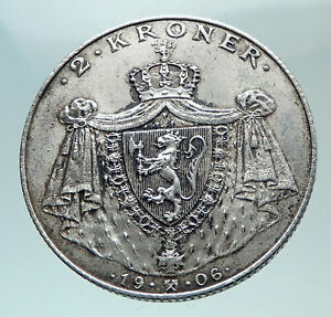1906-NORWAY-Norwegian-Independence-LION-Genuine-OLD-Silver-2-Kroner-Coin-i82164