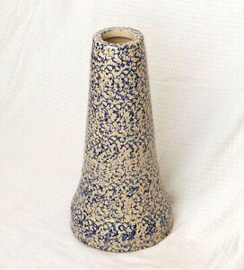 Antique-Stoneware-Birdbath-Pedestal-Blue-on-Beige-Spongeware-21-034-Excellent
