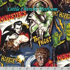 Robert Kaufman Pleasures & Pastimes Monsters Vampire Dusty Midnight Fabric