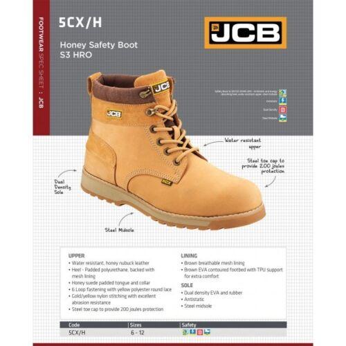 Sizes 6-12 Steel Toecap /& Midsole JCB 5CX Safety Work Boots Tan Honey