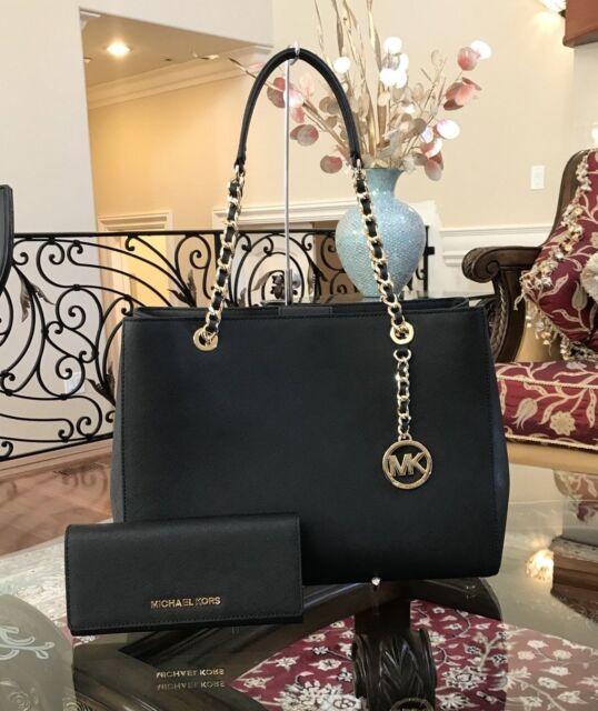 a02e2d9c29d7 NWT Michael Kors Susannah Large Leather Chain handbag/Purse&Wallet Set black