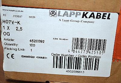 Lappkabel Litze H07v-k Orange 1 X 2,5 Mm² 4520092 100 Meter Neu Sale Price