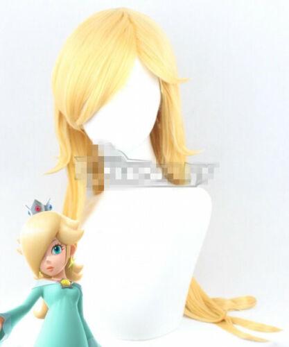 Super Mario Rosalina Golden Long Straight Anime Cosplay Hair Wig 70 cm