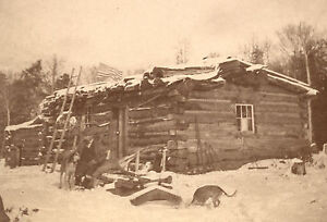 ANTIQUE-HUNTER-35-STAR-FLAG-DOGS-UNUSUAL-LOG-CABIN-CHICAGO-CABINET-CARD-PHOTO