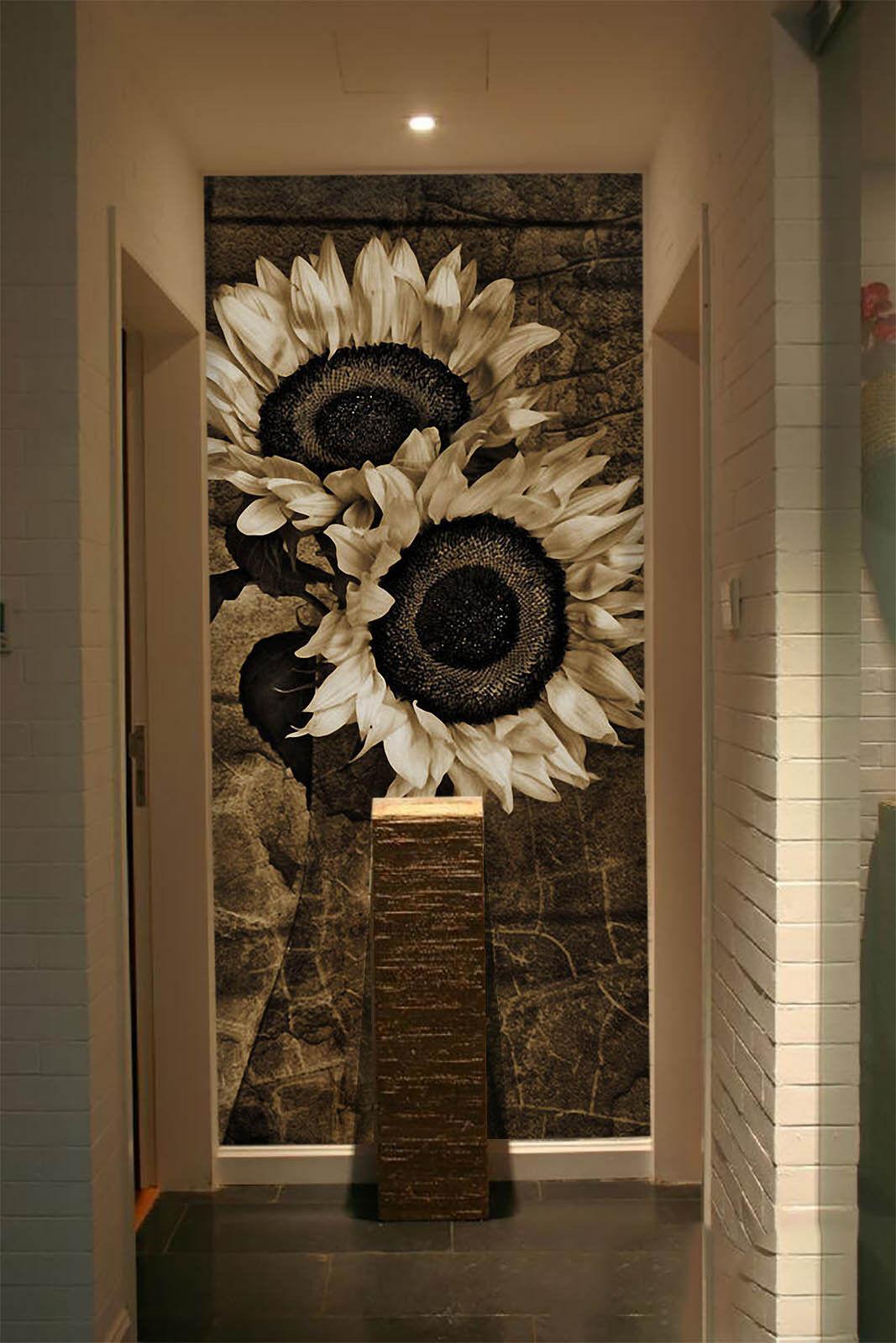 3D Sunflower Sketch 12 Wall Paper Wall Print Decal Wall AJ WALLPAPER CA