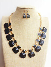 Gold Plated Black Square Art Deco Geometric Enamel Pendant Necklace Earrings set