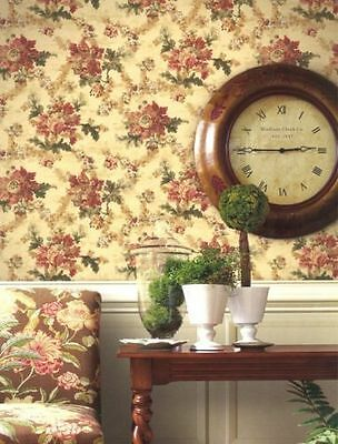 Aged Distressed Victorian Floral Wallpaper Double Roll Bolts FREE SHIPPING