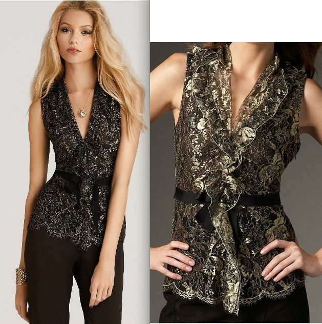 Elie Tahari Remy Sleeveless Gold Lace Blouse Top L
