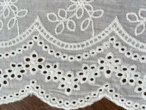 Off white Cotton Embroidery Lace Fabric DIY  Material Width 19 cm 1 Yard