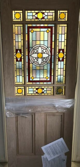 ( Brand New ) DOWNHAM Stained Glass Internal Door (White Oak)