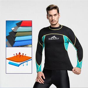 Men s 2mm Neoprene Wetsuit Jacket Long Sleeve Top Diving Swimwear ... 103694c7c