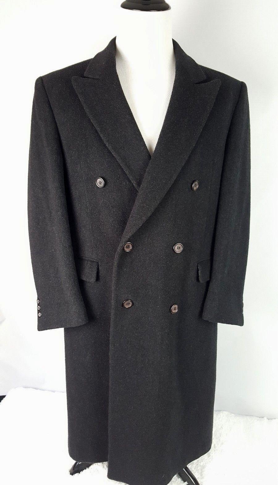 Nino Cerruti Wool Cashmere Blend Long Coat Charcoal grau Men Größe 40R