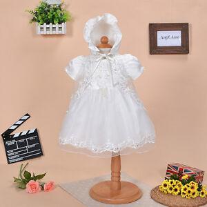 Newborn Baby Christening Gown Infant Lace Baptism Dress with hat/bonnet 3 pcs