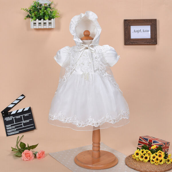 Newborn Baby Christening Gown Infant Lace Baptism Dress with hat ...
