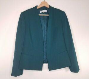 Kasper-Womens-Blazer-Jacket-Dark-Teal-Green-Fitted-Open-Front-Petite-Size-10P