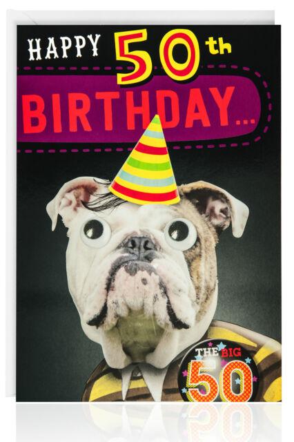50TH Birthday Male Funny Humour Animal Dog Card Greetings Black