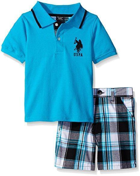 U.S Polo Assn Toddler//Little Boys S//S Polo 2pc Short Set Size 2T 3T 4T 4 5 6 7
