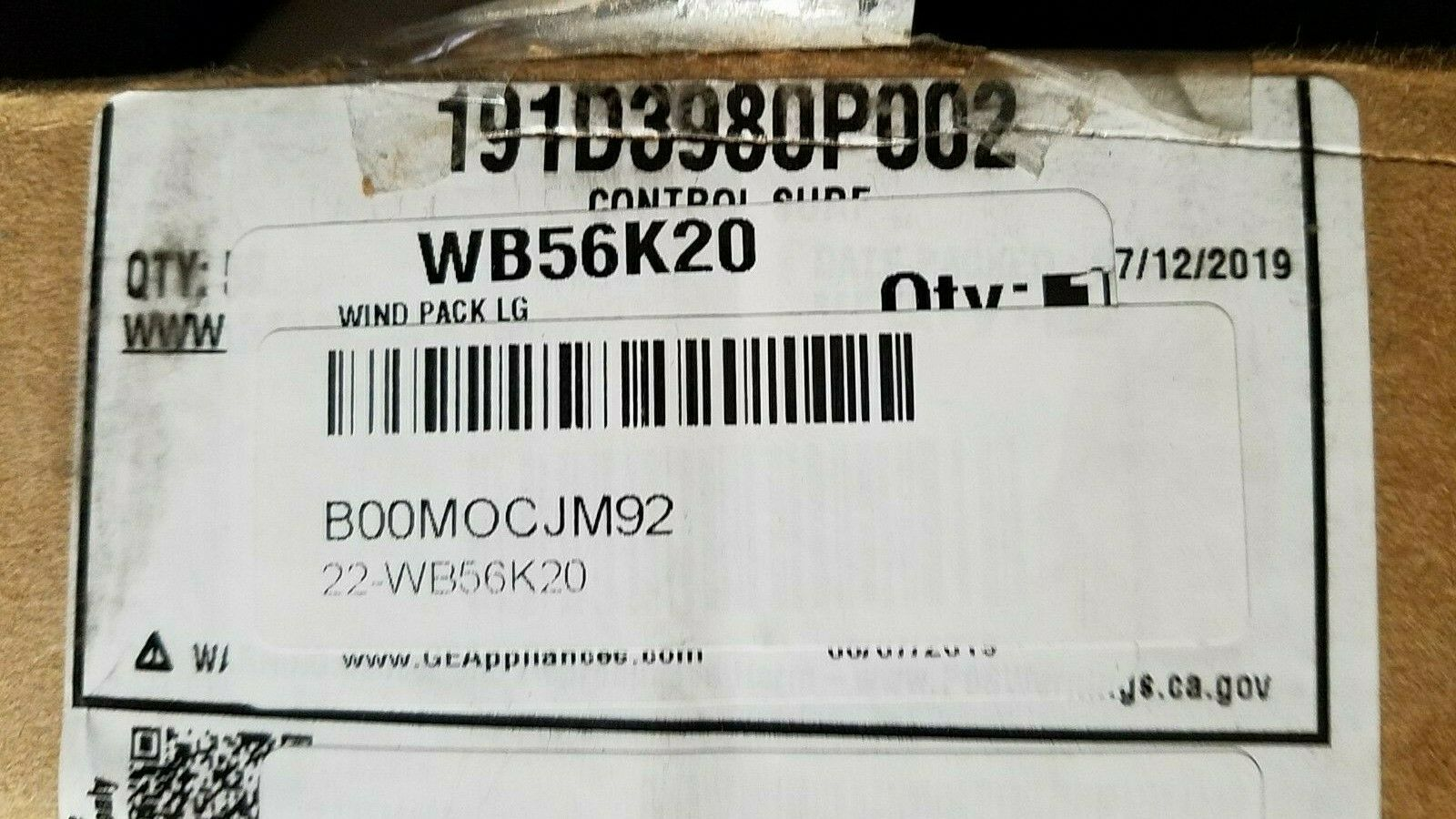General Electric WB56K20 Range//Stove//Oven Window Pack brand new original GE part