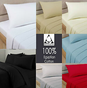 100-Egyptian-Cotton-Fitted-Sheet-200-Thread-Count-Single-Double-King-Super-King