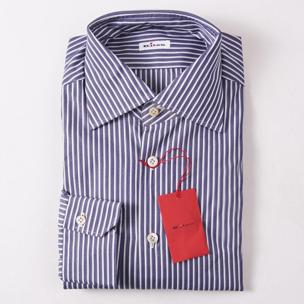 NWT  KITON NAPOLI Slate bluee Stripe Dress Shirt 18 x 37 Modern-Fit
