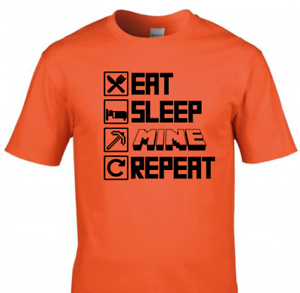 Eat Sleep Mine Repeat Kids T-Shirt Boys Girls Gamer Gaming Tee Top