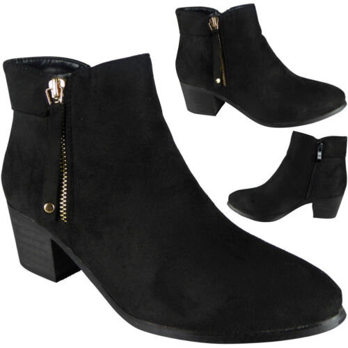 New Womens Ladies Faux Suede Zip Low Mid Cuban Heel Work Ankle Boots Shoes Size