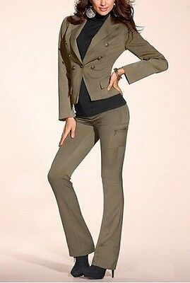 Laura Scott Slim Fit Cargohose Lang-Gr.72 36 NEU Damen Röhre Khaki Stretch L34
