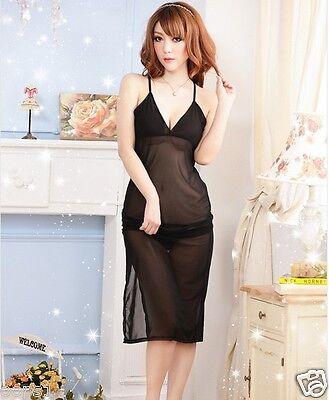 Sexy Long Gown Dress Sleep wear NightWear Lingerie BABYDOLL sleepwear 142 Black